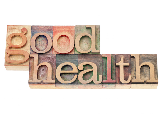 good health - wellness concept - isolated text in vintage letterpress wood type printing blocks